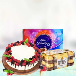 Chocolate Gifts With Fruit Cake: 1st birthday gifts Dhanbad,  India