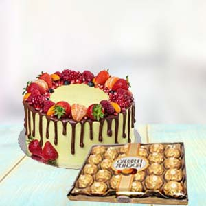 Fruit Cake With Yummy Chocolates: Gifts For Girlfriend Lucknow,  India