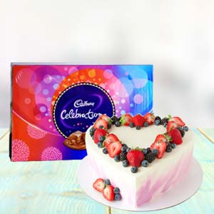 Heart Shape Cake Combo With Chocolates: Birthday chocolates Latur,  India