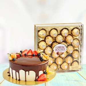 Yummy Chocolates With Fruit Cake: Gifts For Sister Meerut,  India