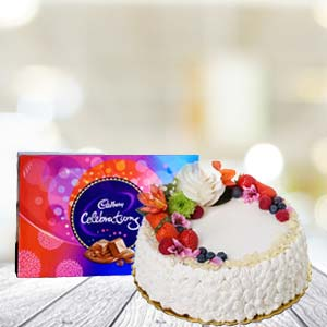 Cake With Celebration Chocolates: Gift Solapur,  India