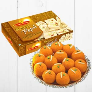 Haldiram Soan Papdi With Ladoo: 1st birthday gifts Junagadh,  India