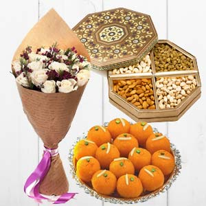 Flower With Dry Fruits And Sweets: Karwa Chauth Gifts Mathura,  India