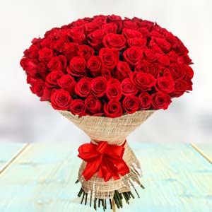 100 Red Roses: Anniversary flowers Dehradun,  India