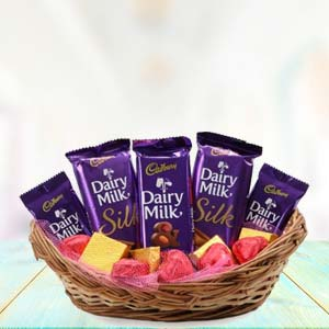 Dairy Silk Chocolate Basket: Gifts For Sister Yamuna Nagar,  India