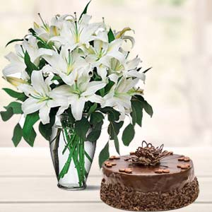 White Lilies And Cake: Birthday flowers & cake Kota,  India